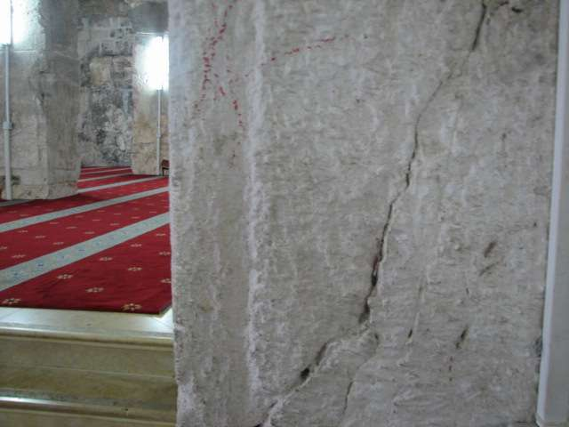 The walls and pillars of Masjid al-Aqsa breaking due to the tunnels