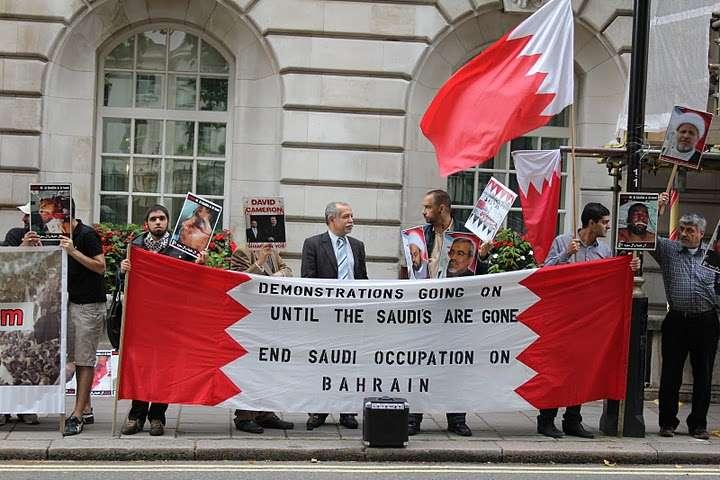 إعتصام أمام السفارة السعودیة فی لندن تندیداً فی قمع الثورة البحرینیة