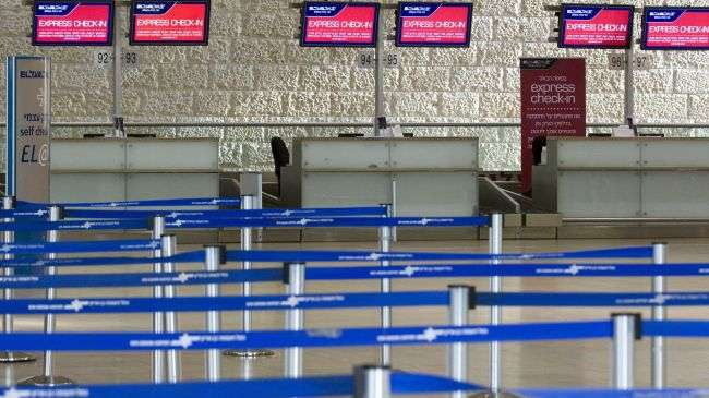 A deserted departures hall is pictured during a six-hour strike at the Ben Gurion Airport near Tel Aviv, February 8, 2012.
