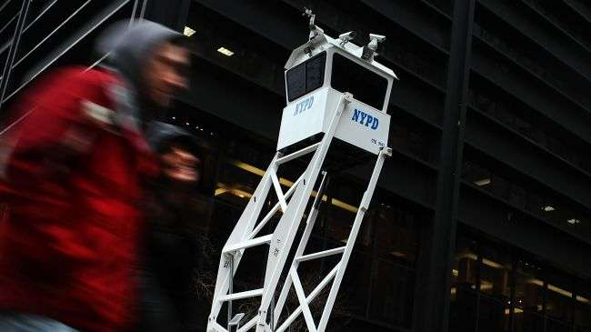 New York Police Department (NYPD) security outpost is viewed on January 26, 2012 in New York City.