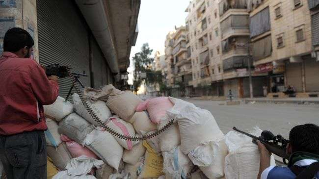 File photo shows Syrian armed opposition in the city of Aleppo in northern Syria.