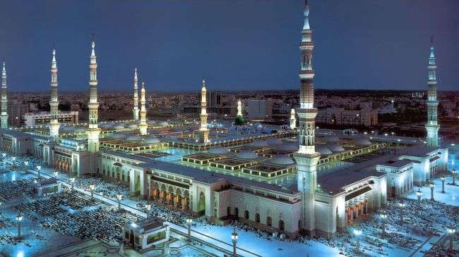 A view of Masjid al-Nabawi in the holy city of Medina