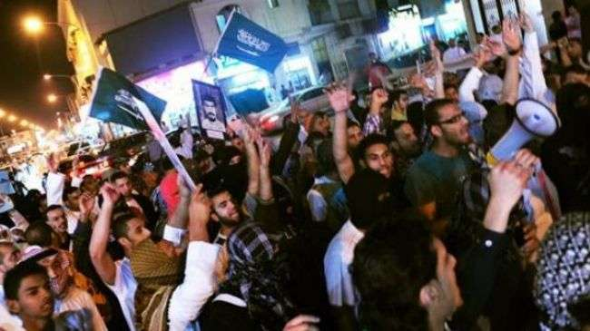 Saudi protesters hold an anti-regime demonstration in the Qatif region of Eastern Province.