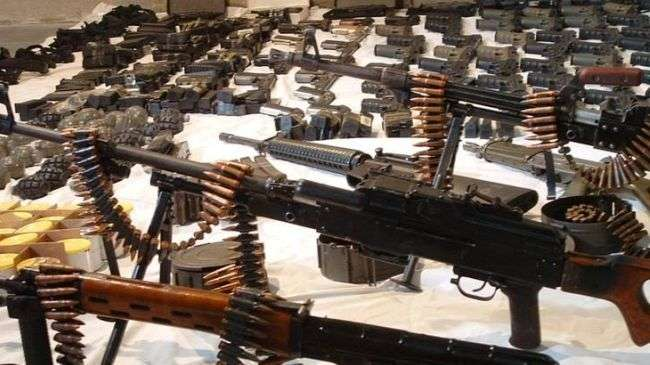Weapons and ammunition confiscated from Syrian rebels