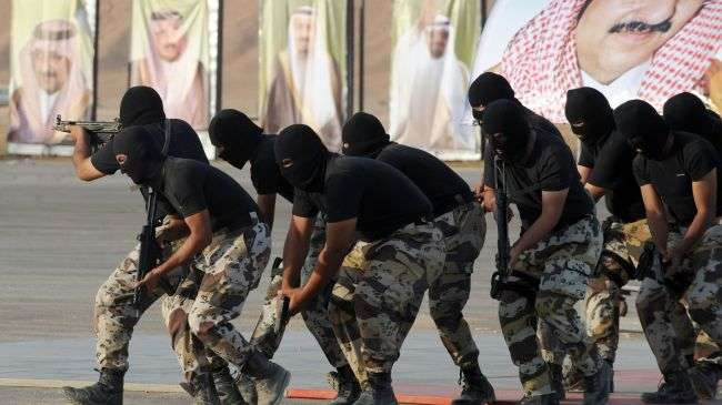 Saudi Special Forces show their skills during opening ceremony of the new Emir Nayef Center for Special Elite Operations in the Dorma region on September 25, 2012.