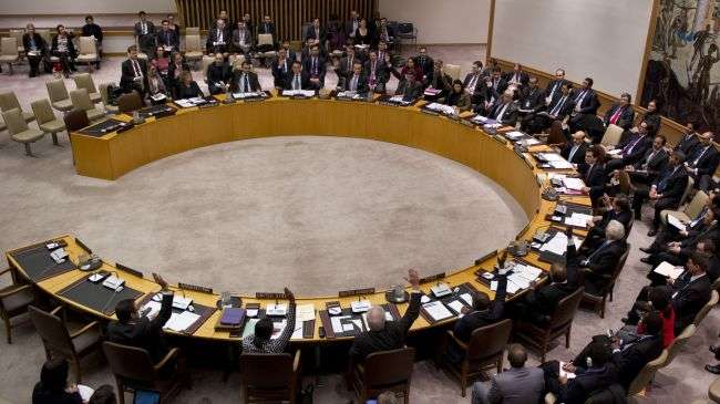 Members of the United Nations Security Council vote during a Security Council meeting on North Korea on January 22, 2013 at the United Nations in New York.