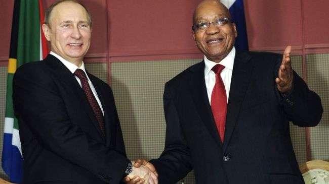Vladimir Putin, Presiden Rusia dan Jacob Zuma, Presiden Afrika Selatan.JPG