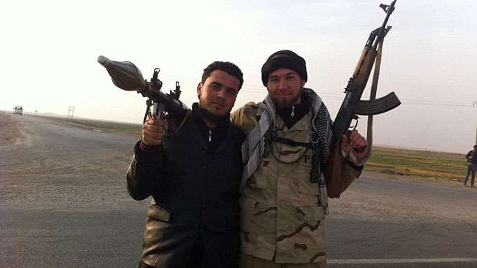Eric Harroun and a foreign-backed militant in Syria.