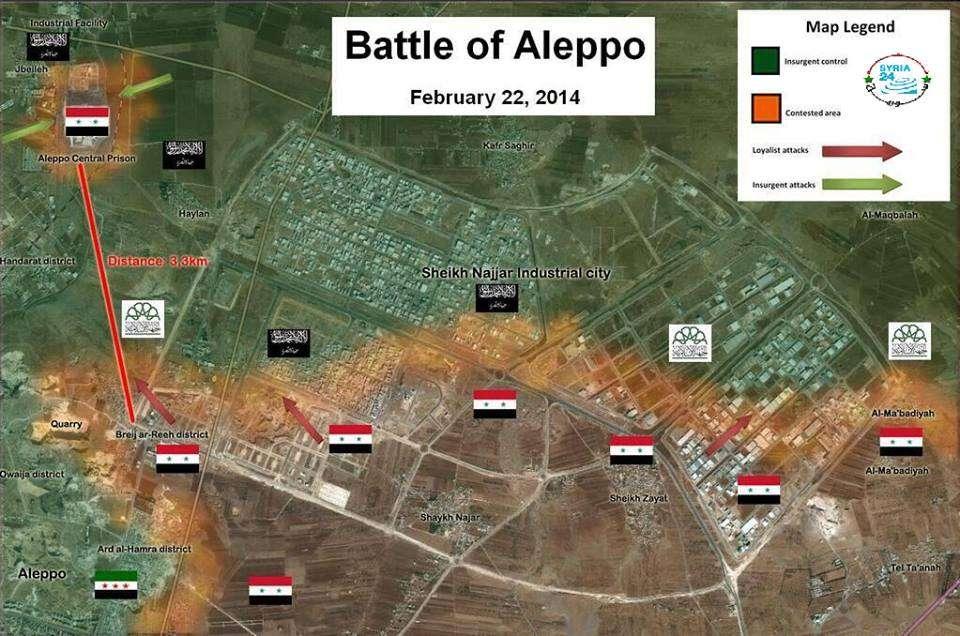 Peta perang di Aleppo
