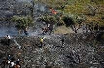 Warga Palestina memadamkan api kebun Zaitun, dibakar oleh pemukim Zionis Yahudi.jpg