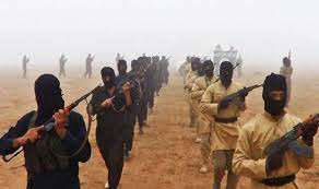 Members of the unrecognised state and active Jihadist militant group march to Iraq