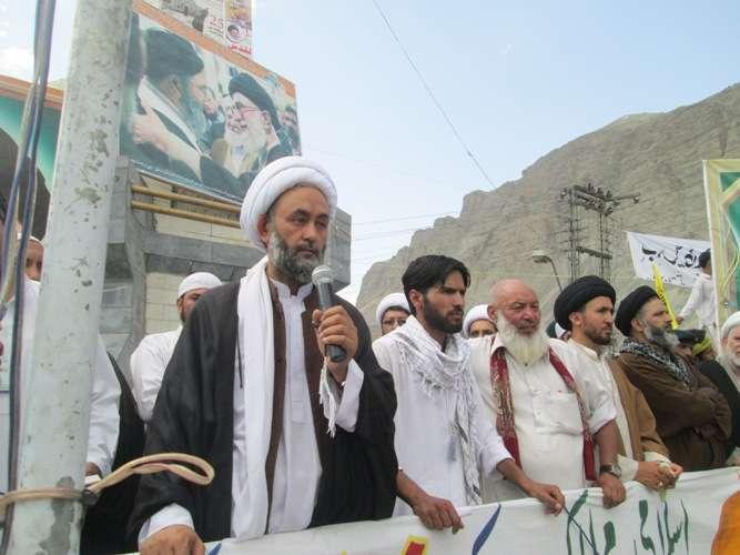 انجمن امامیہ بلتستان کے زیراہتمام نکالی جانے والی القدس ریلی سے شیخ جواد صالحی خطاب کرتے ہوئے