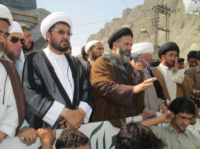 انجمن امامیہ بلتستان کے زیراہتمام نکالی جانے والی القدس ریلی سے آغا علی رضوی خطاب کرتے ہوئے