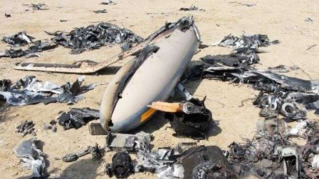 File photo shows the wreckage of an Israeli drone which Iran downed in its territory in August 2014.