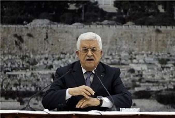 Palestinian president Mahmoud Abbas speaks during a press conference in the West Bank city of Ramallah on Aug. 26, 2014