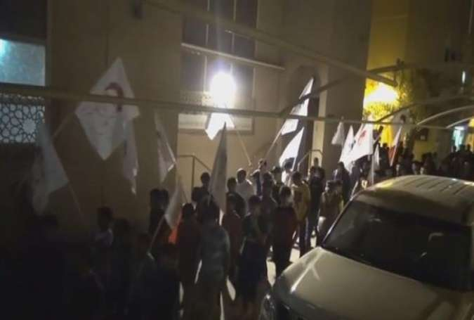 Bahraini protesters in the village of Diraz stage a rally on April 3, 2015 to denounce the Saudi invasion of Yemen.