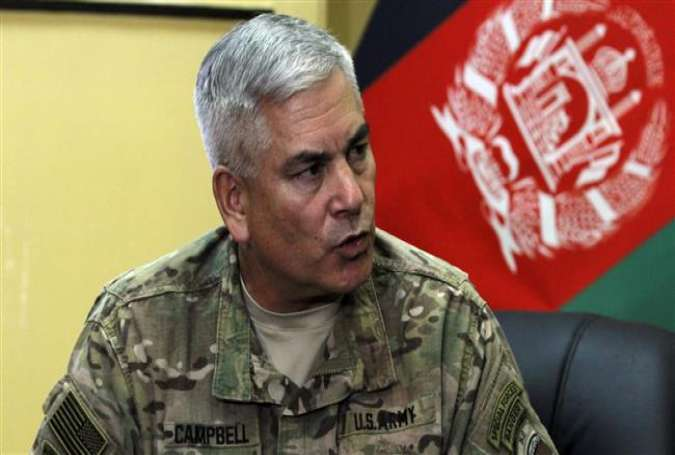 General John F. Campbell, the commander of the NATO Resolute Support mission in Afghanistan, speaks during a press conference in Kabul, Afghanistan, May 23, 2015.