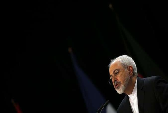 Iranian Foreign Minister Mohammad Javad Zarif speaks during a press conference at Austria International Center in Vienna, Austria, July 14, 2015.