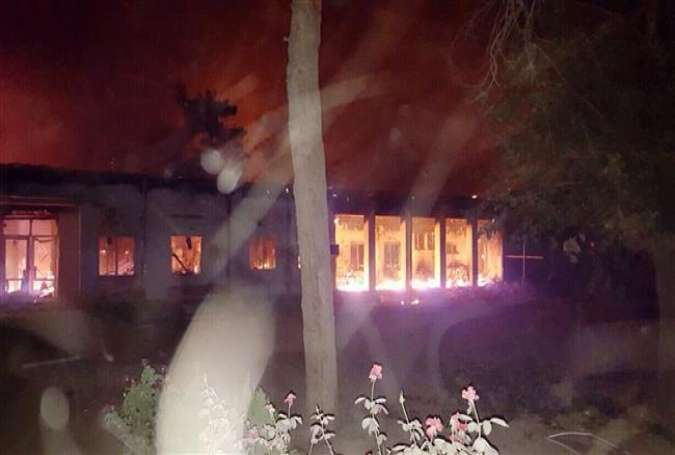 Fires burn in part of a hospital in Kunduz, Afghanistan on October 3, 2015 after it was hit by a US airstrike.
