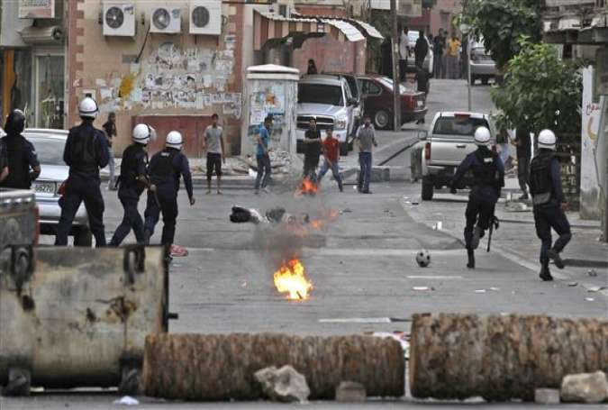 Regime forces crack down on Bahraini anti-government protesters on May 16, 2012, in Daih, Bahrain, on the edge of the capital of Manama