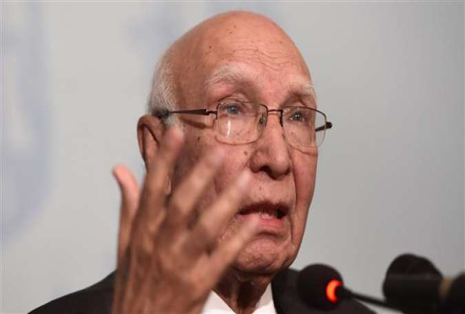 Pakistan Prime Minister Adviser on National Security and Foreign Affairs Sartaj Aziz