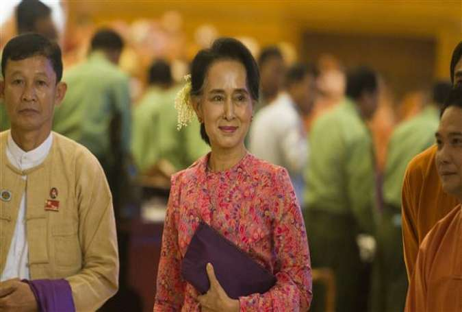 Aung San Suu Kyi leads her National League for Democracy (NLD) party into Myanmar's parliament for the first time on February 1, 2016.