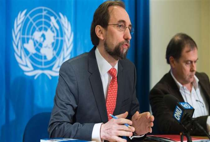 The United Nations (UN)'s High Commissioner for Human Rights Zeid Ra'ad Al Hussein (L) speaks during a press conference at the UN's offices in Geneva, February 1, 2016.