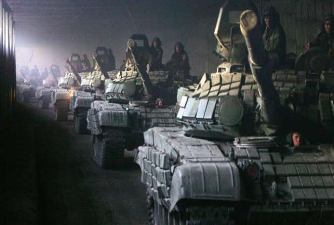 A column of Russian armored vehicles on the move, August 23, 2008.