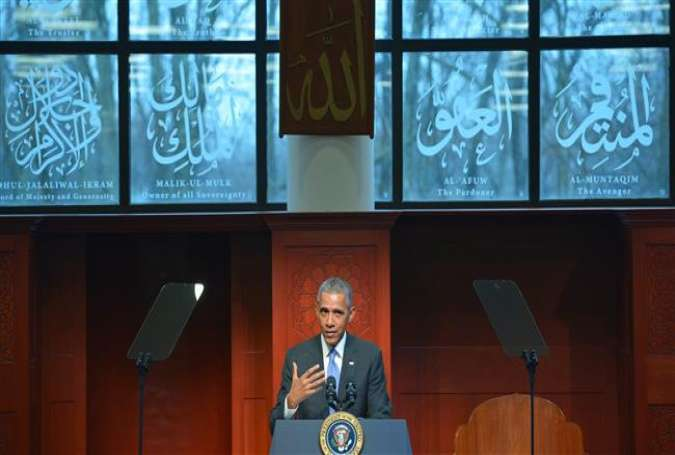 US President Barack Obama speaks at the Islamic Society of Baltimore, in Windsor Mill, Maryland on February 3, 2016.
