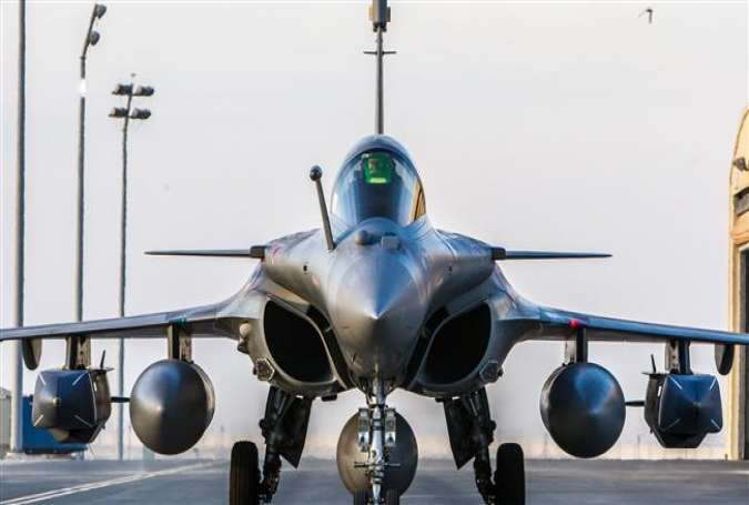 A Rafale fighter jet taxiing on an undisclosed base for a raid against ISIL as part of US-led forces.