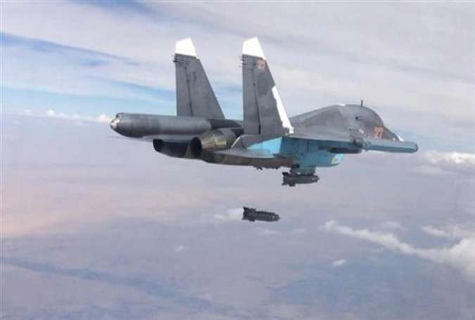 A Russian fighter jet carrying out an airstrike in Syria