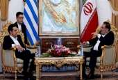 Secretary of Iran's Supreme National Security Council Ali Shamkhani (R) meets with visiting Greek PM Alexis Tsipras in Tehran, Feb. 9, 2016.