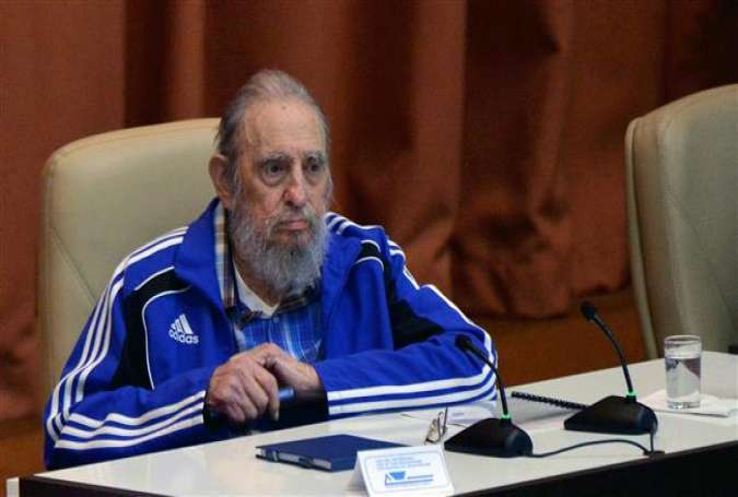 Former Cuban President Fidel Castro during the closing ceremony of the 7th Congress of the Communist party at Convention Palace in Havana, on April 19, 2016.