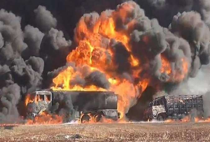 The aftermath of a Russian attack on a Daesh oil tanker convoy in Syria