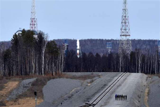A Russian Soyuz 2.1a rocket stands on the launch pad at the new Vostochny Cosmodrome, about 200 km from the city of Blagoveshchensk, Russia, April 27, 2016.