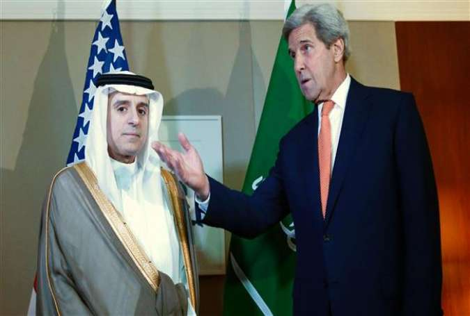 US Secretary of State John Kerry (R) gestures next to Saudi Foreign Minister Adel al-Jubeir during a meeting on Syria in Geneva, on May 2, 2016.