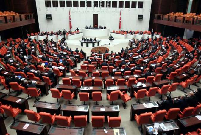 A general view of a session of the Turkish parliament