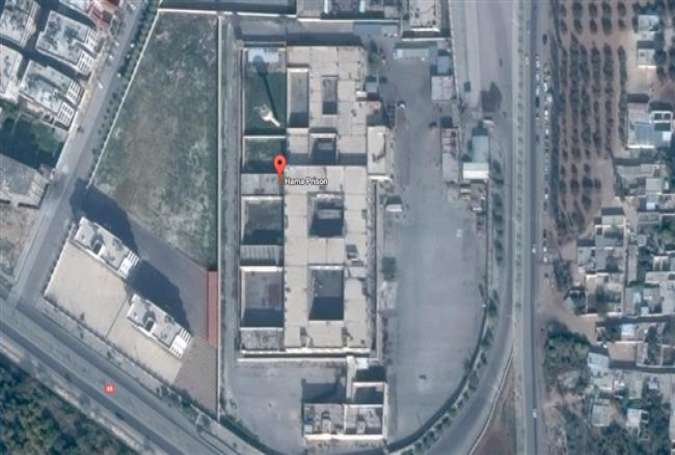 A satellite view of the Hama prison