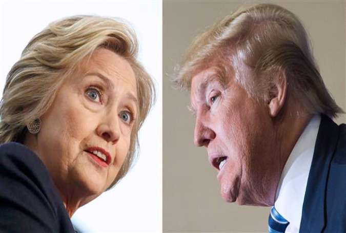 Democratic presidential candidate Hillary Clinton (L) and Republican front-runner Donald Trump