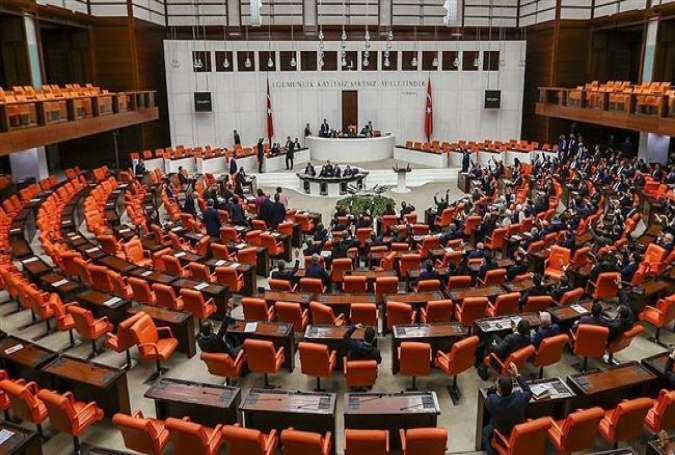 A general view of the Turkish parliament in session.