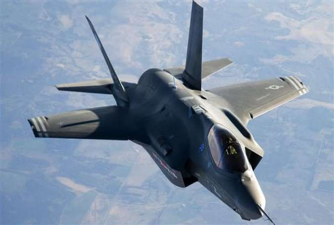 A US-made fourth-generation F-35 fighter jet in flight