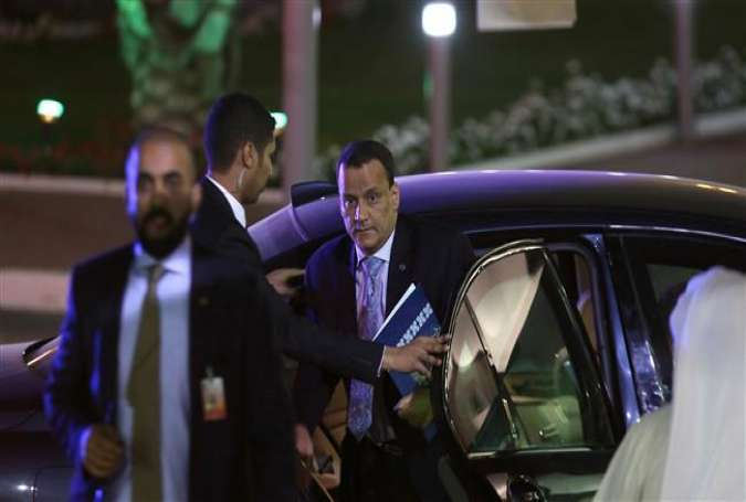 UN envoy for Yemen Ismail Ould Cheikh Ahmed arrives for a press conference at the minister of information in Kuwait City on April 30, 2016.
