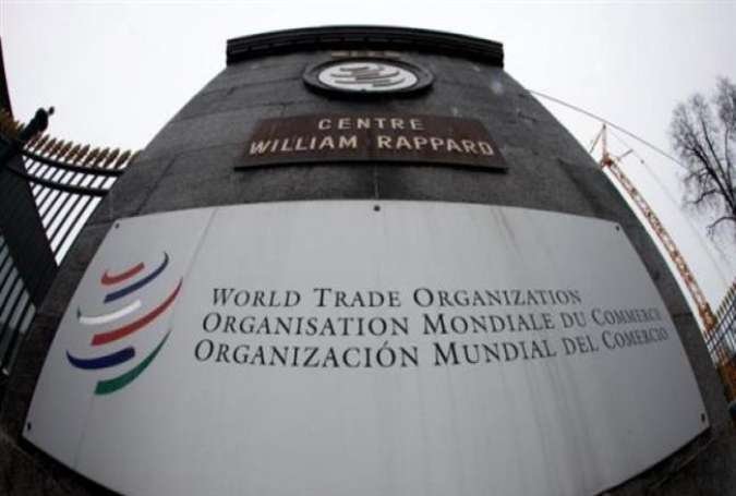 The World Trade Organization (WTO) logo is seen at the entrance of its headquarters in Geneva.