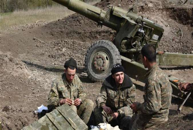 Armenian-backed fighters at their field position outside a village in Karabakh.