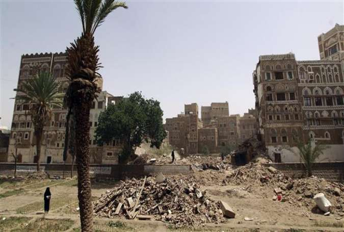 A view of the destruction in the UNESCO-listed heritage site in the old city of Yemeni capital Sana