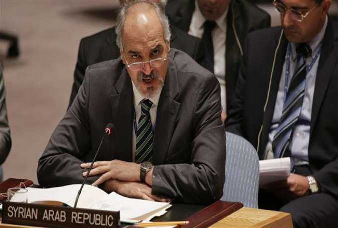 Bashar al-Ja'afari, the Syrian ambassador to the United Nations (UN), speaks at the Security Council.