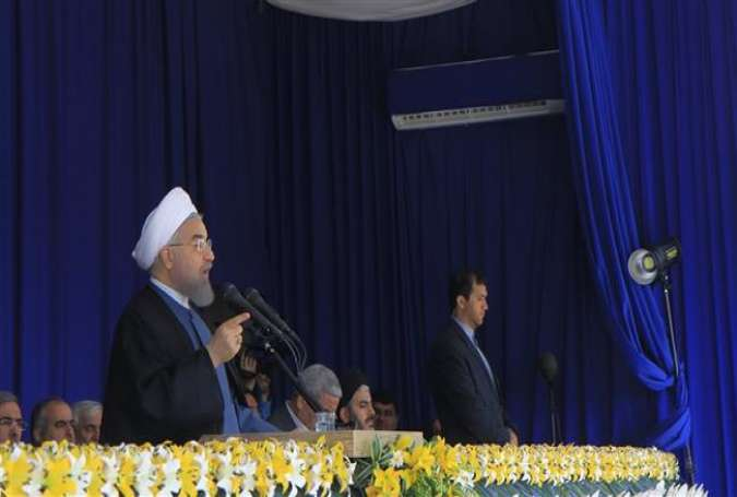 President Hassan Rouhani makes an address in northwestern Iranian city of Urumieh, May 30, 2016.