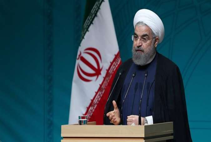 Iranian President Hassan Rouhani speaks in an address in the northwestern Iranian province of West Azerbaijan on May 30, 2016.