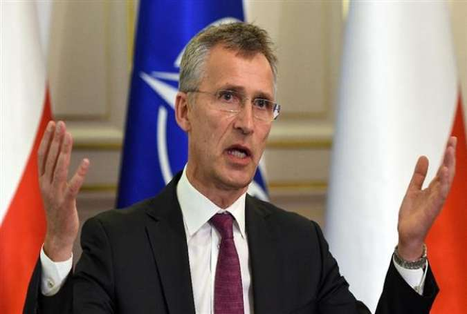 NATO Secretary General Jens Stoltenberg gestures during a meeting with Polish President Andrzej Duda (not shown in the picture) at Belweder Palace in Warsaw, Poland, on May 30, 2016.