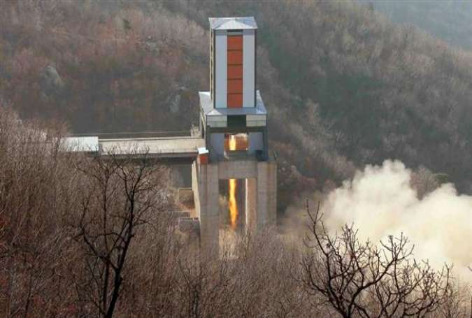 A recently released photo by North Korea shows the ground jet test of a new high-power engine of inter-continental ballistic rocket.